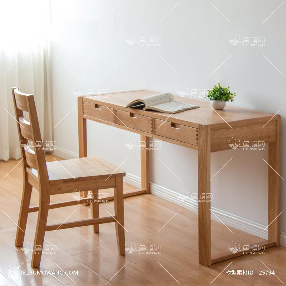 新中式纯木简约书桌椅 (3)3d模型