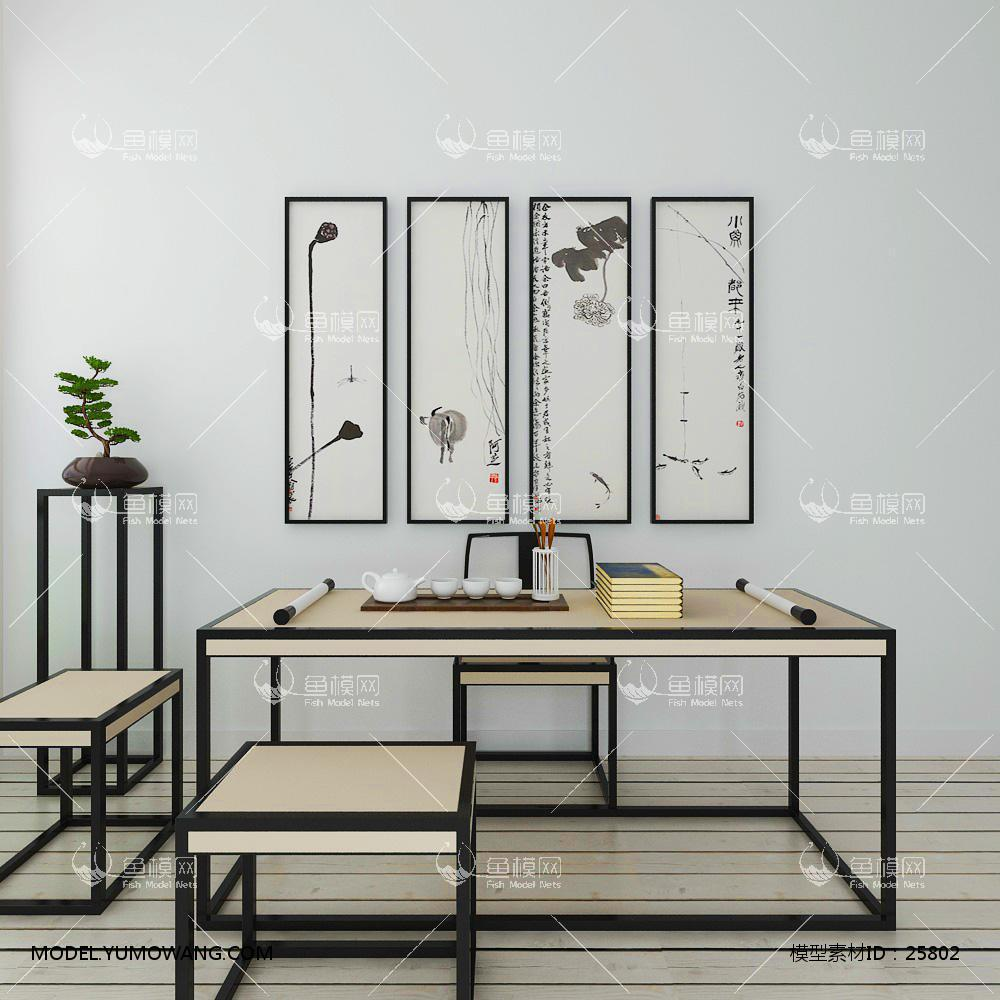 新中式书桌椅挂画组合3d模型