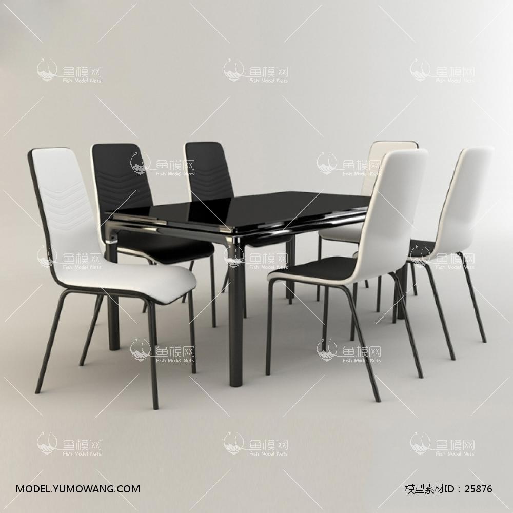 后现代组合桌椅3D模型下载-[ID]25876