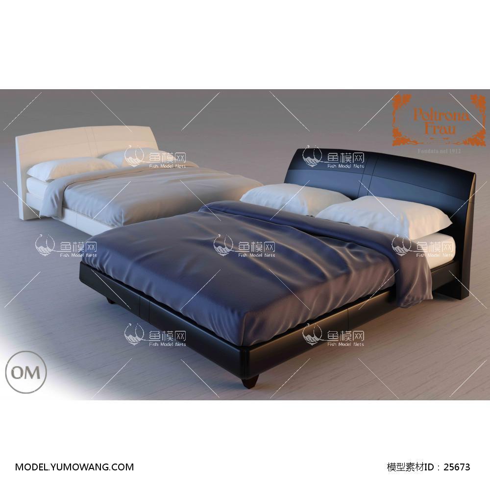 现代布艺双人床 (62)3D模型下载-[ID]25673
