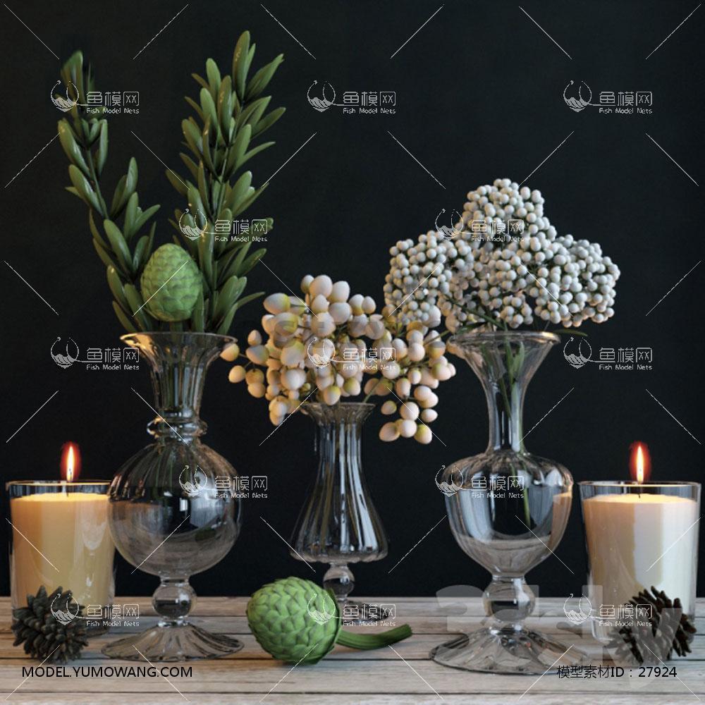 饰品摆件花瓶花卉3D模型下载-[ID]27924