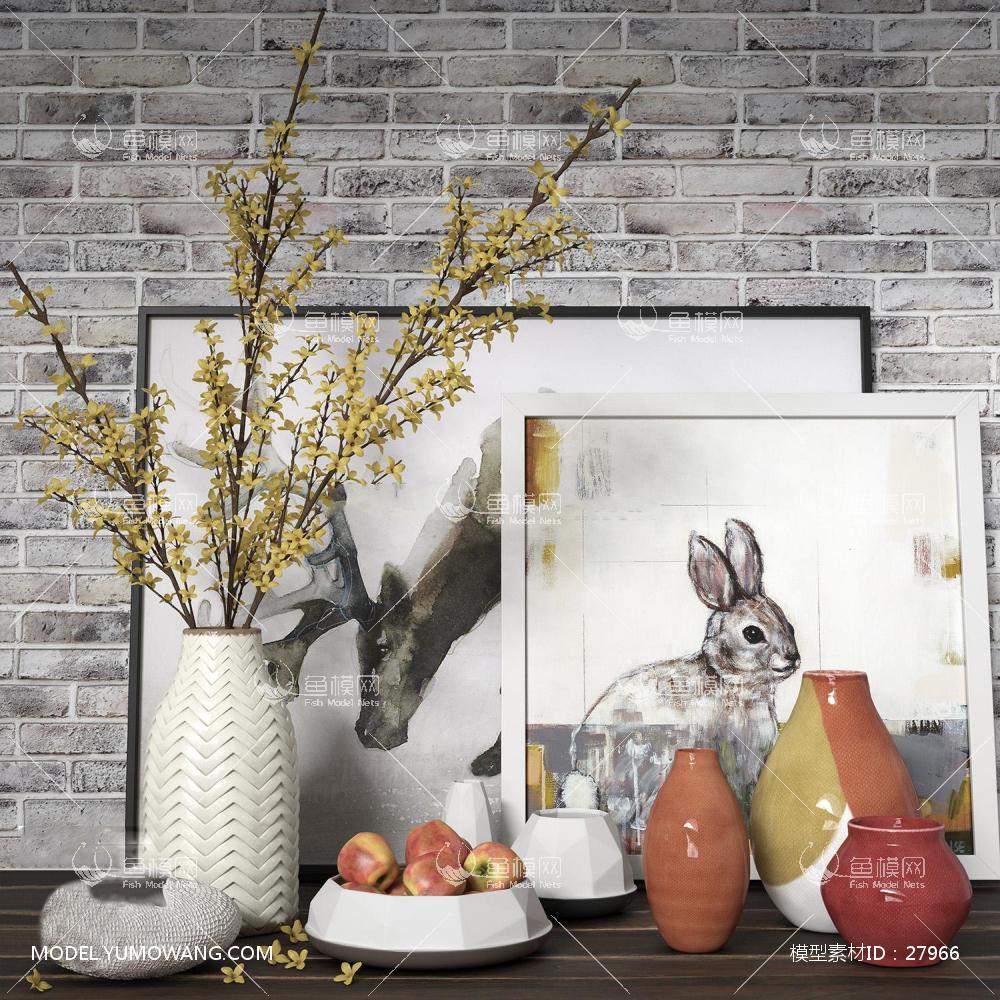 现代陶瓷花瓶器皿摆件组合3D模型下载-[ID]27966