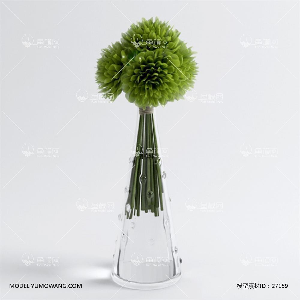 现代桌面玻璃瓶花卉 (2)3D模型下载-[ID]27159