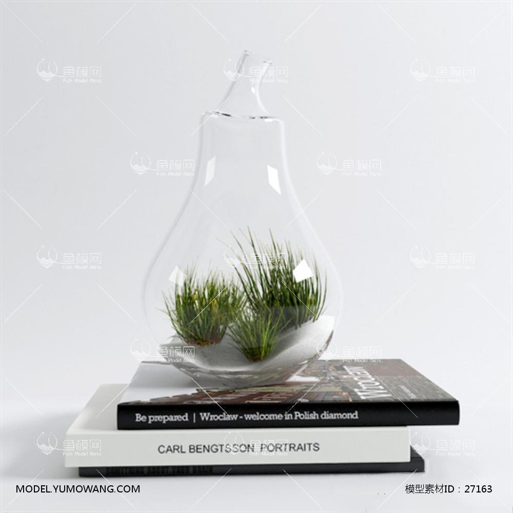 现代桌面书籍玻璃瓶绿植3D模型下载-[ID]27163