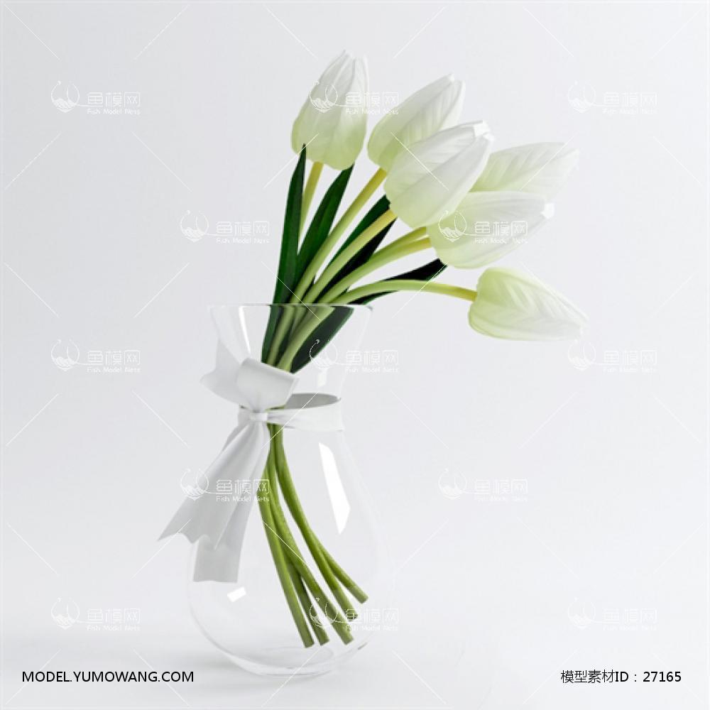 现代桌面玻璃瓶花卉3D模型下载-[ID]27165