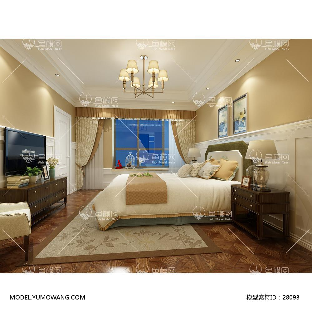 欧式卧室23D模型下载-[ID]28093