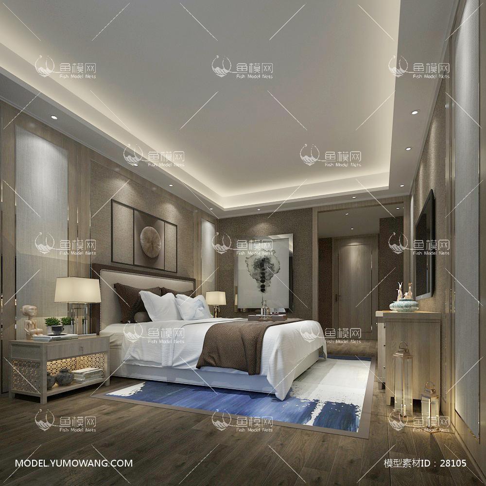 中式卧室293D模型下载-[ID]28105