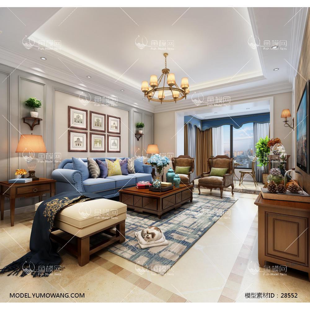 客厅 美式客厅3D模型下载-[ID]28552
