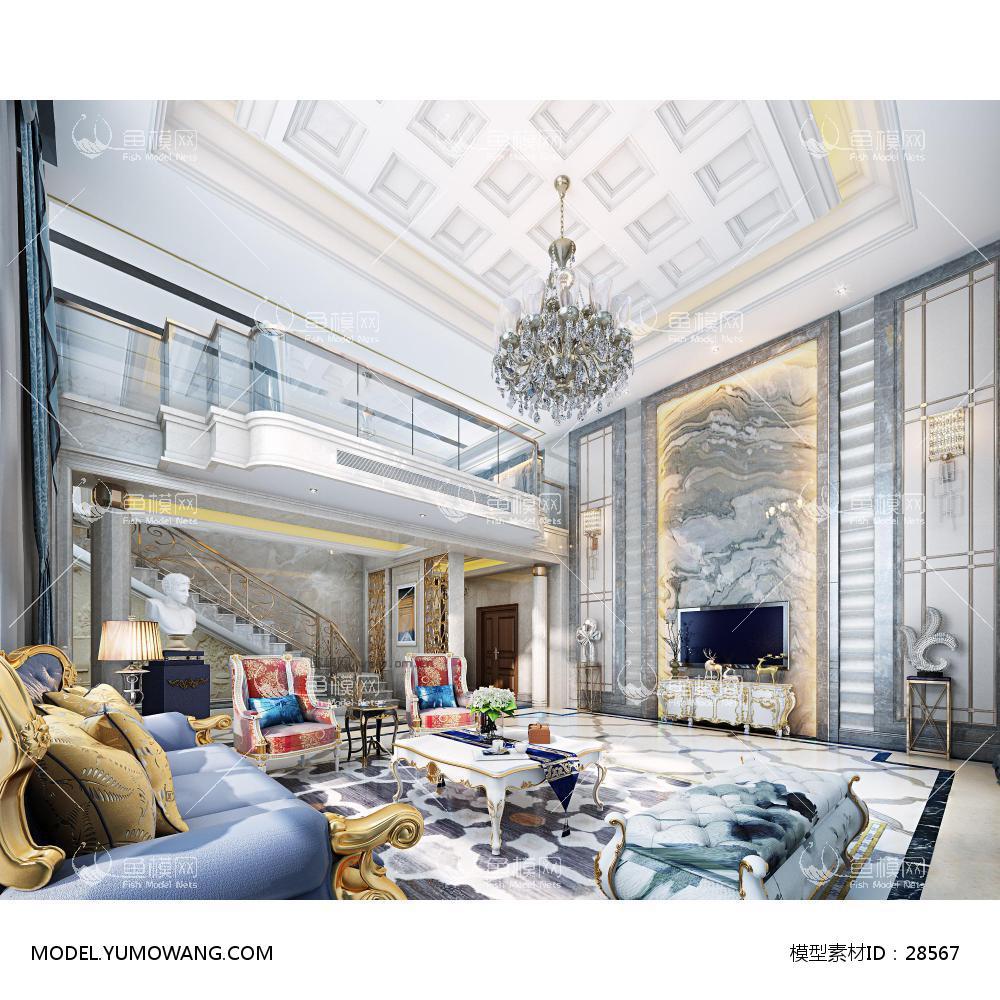 客厅 新古典欧式别墅客厅3d模型