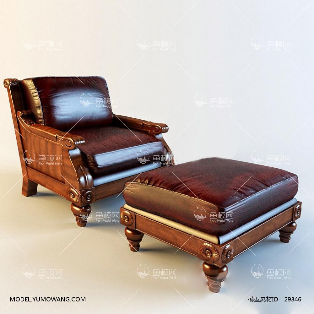 欧式棕色皮革躺椅3d模型