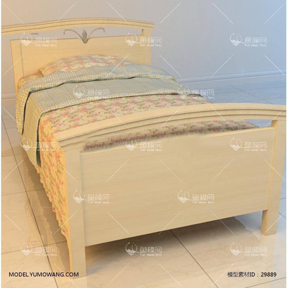 现代单人床9.3D模型下载-[ID]29889