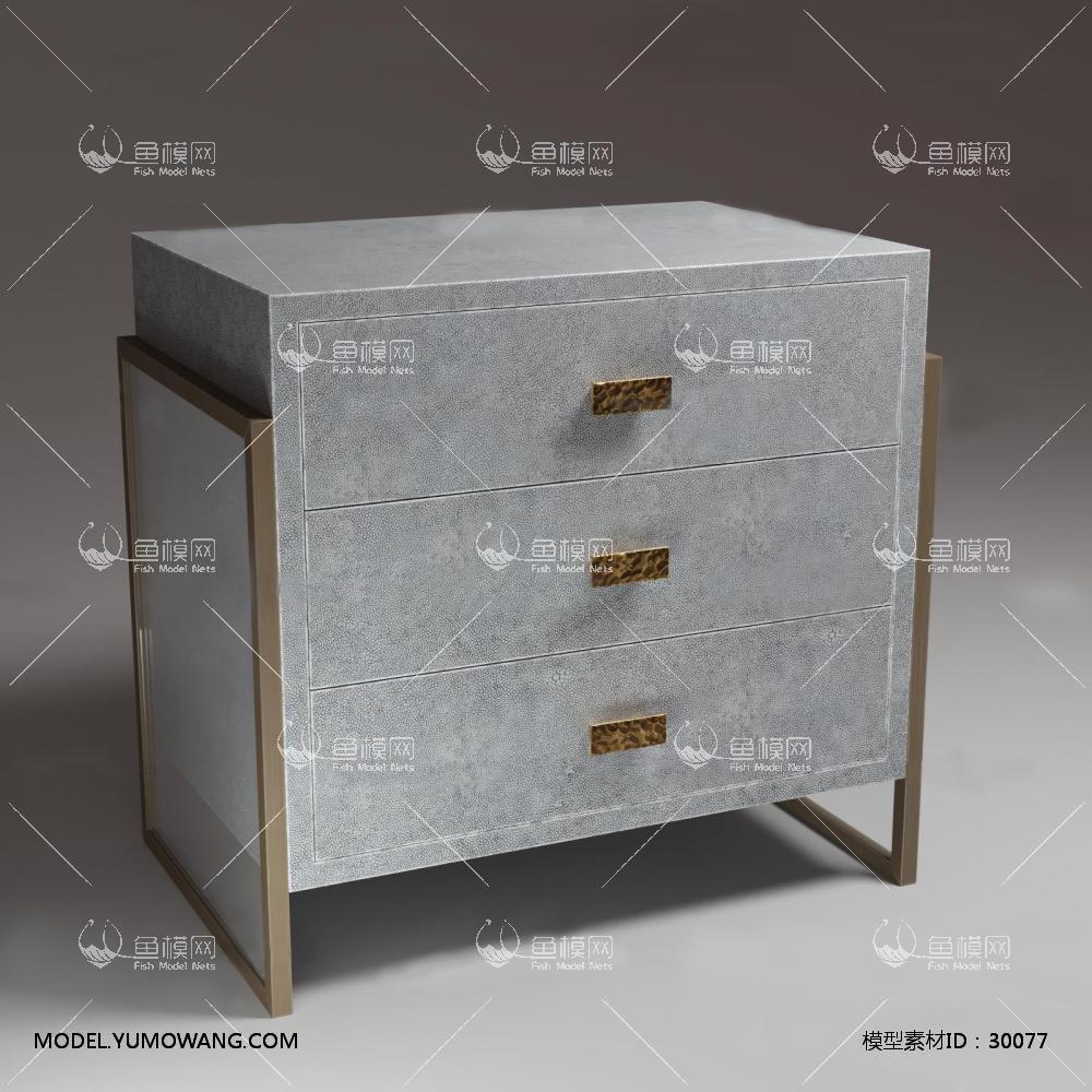 现代灰色床头柜3D模型下载-[ID]30077