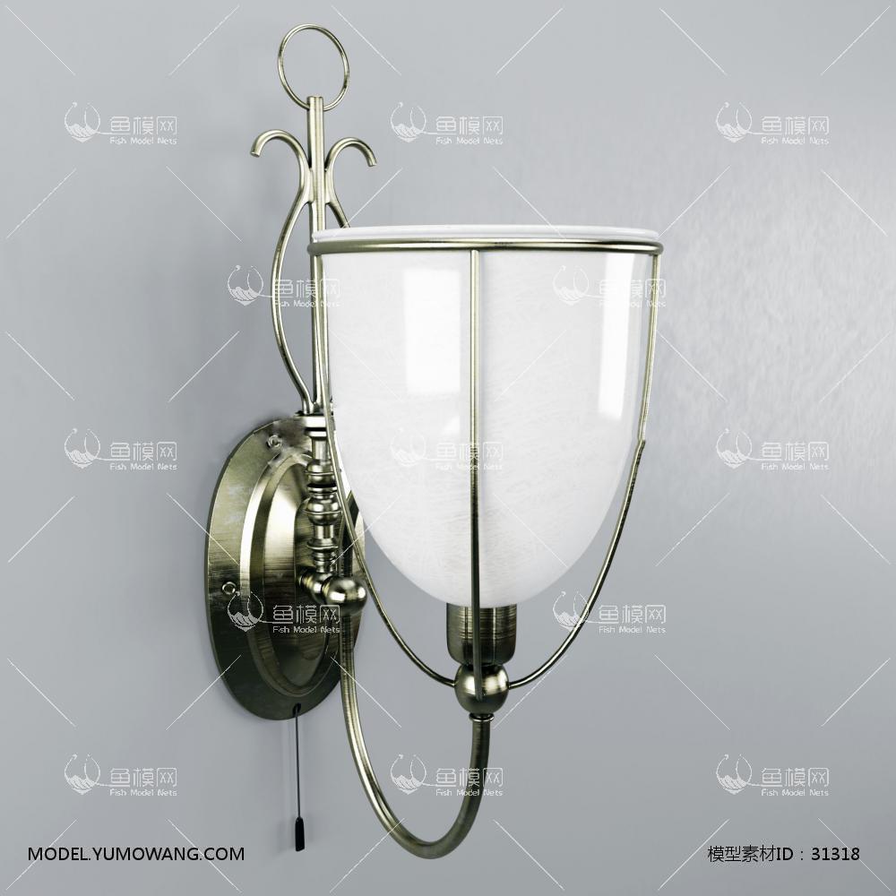 欧式金属壁灯免费3D模型下载-[ID]31318