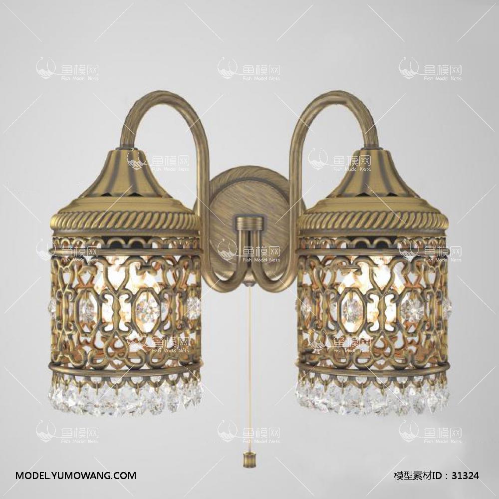 欧式金属双头壁灯3D模型下载-[ID]31324