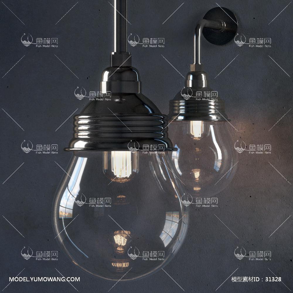 现代玻璃壁灯3D模型下载-[ID]31328