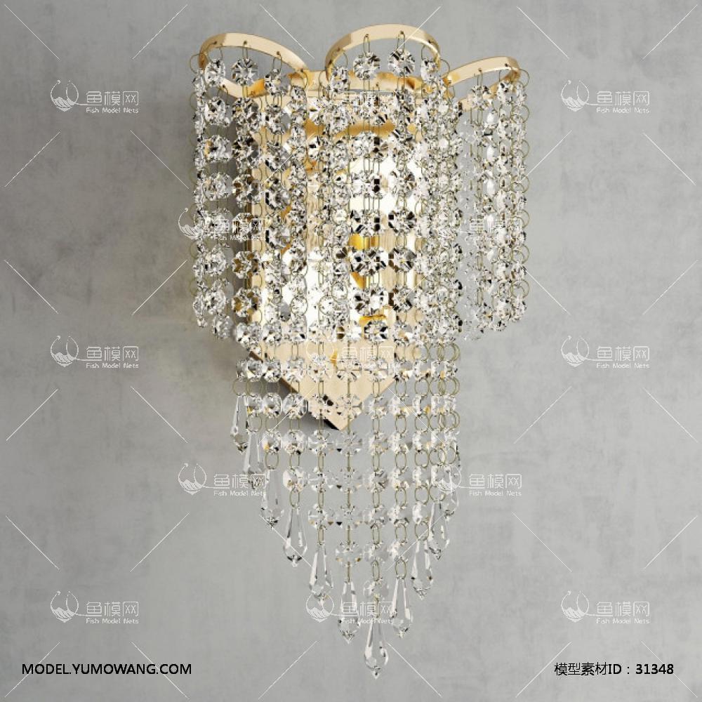 现代金属水晶壁灯23D模型下载-[ID]31348