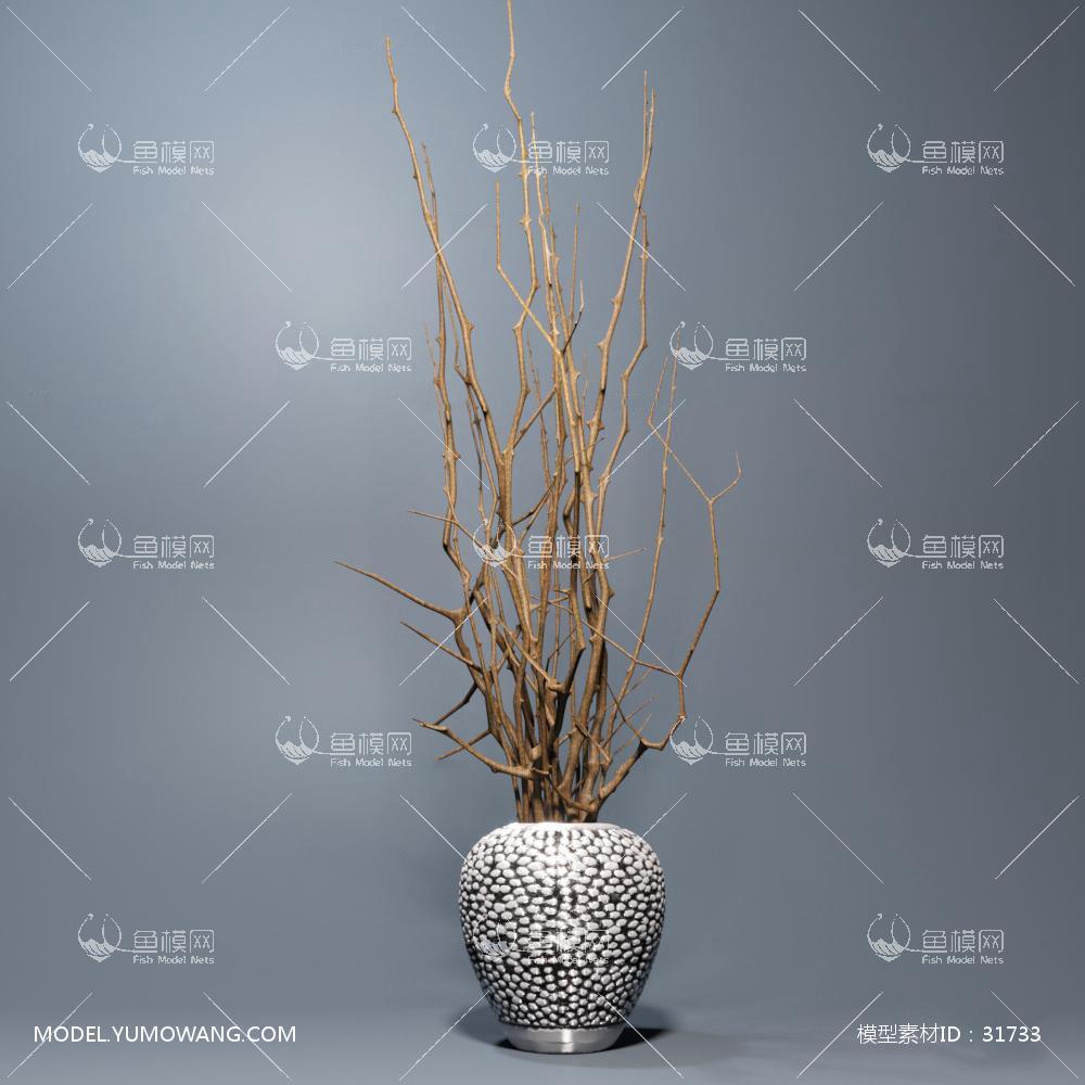 现代花瓶花枝干组合3D模型下载-[ID]31733