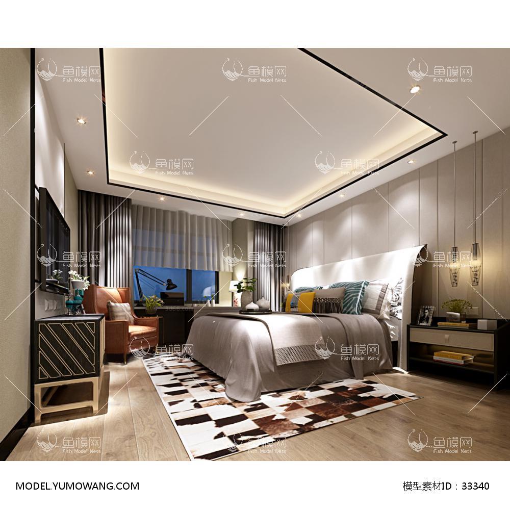 现代风格卧室 (14)3D模型下载-[ID]33340