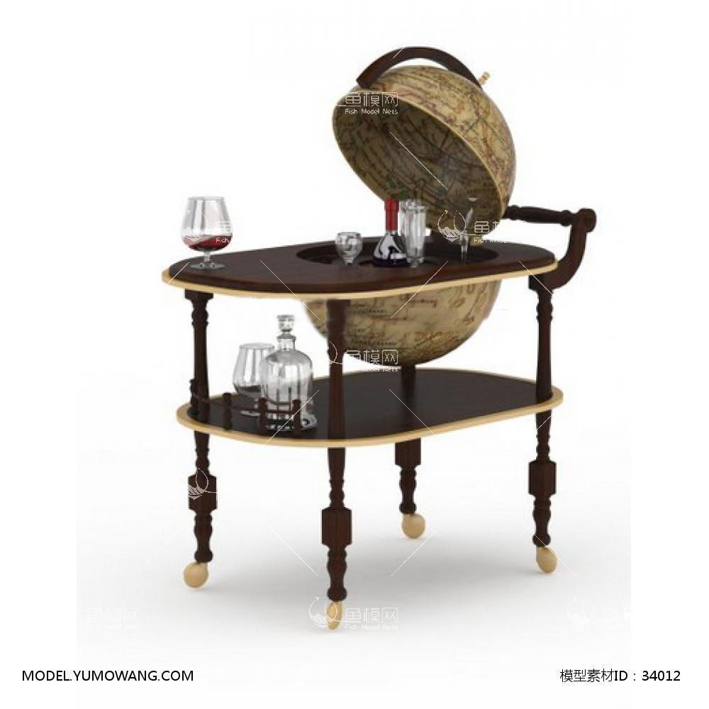 欧式实木餐桌车3D模型下载-[ID]34012