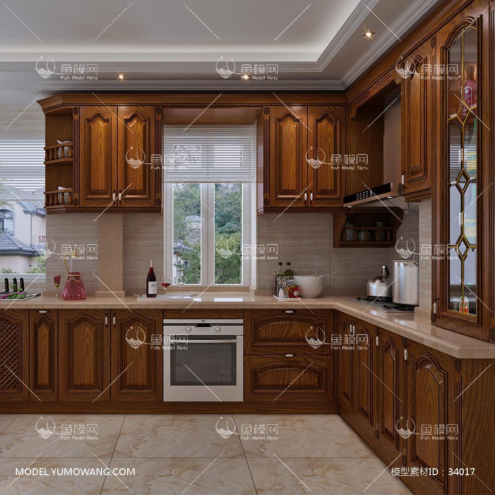 欧式实木定制橡木橱柜3D模型下载-[ID]34017