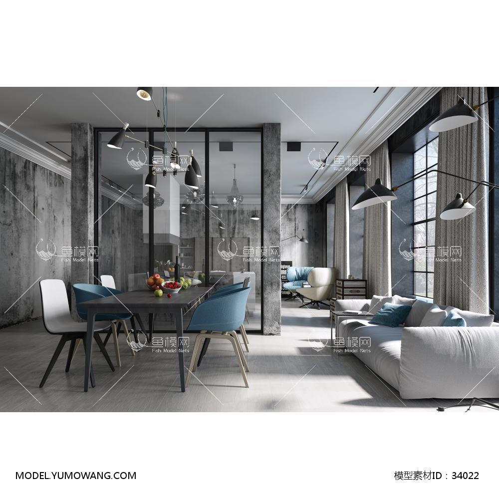 工业loft风住宅3D模型下载-[ID]34022