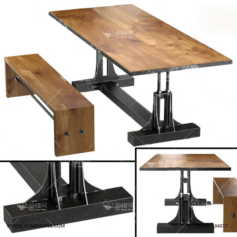 工业风餐桌椅 (2)3D模型下载-[ID]34372