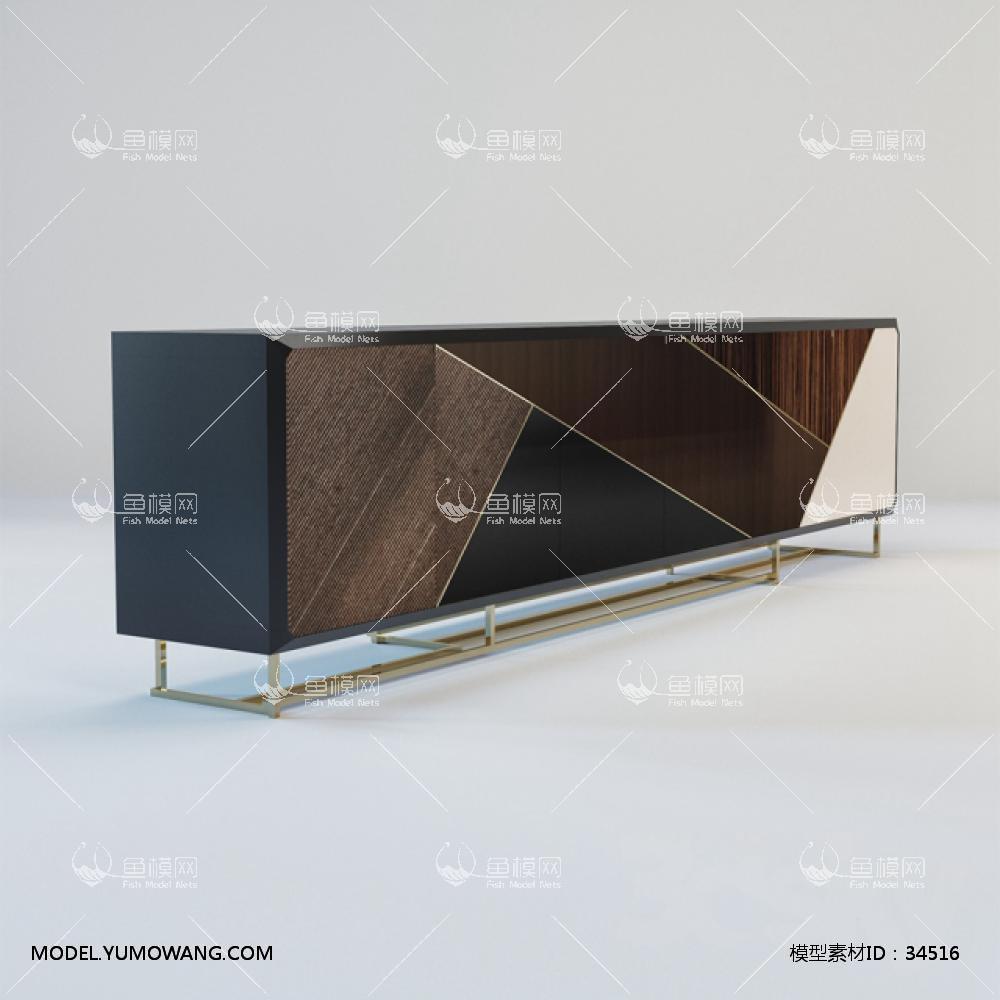 现代电视柜 (1)3D模型下载-[ID]34516