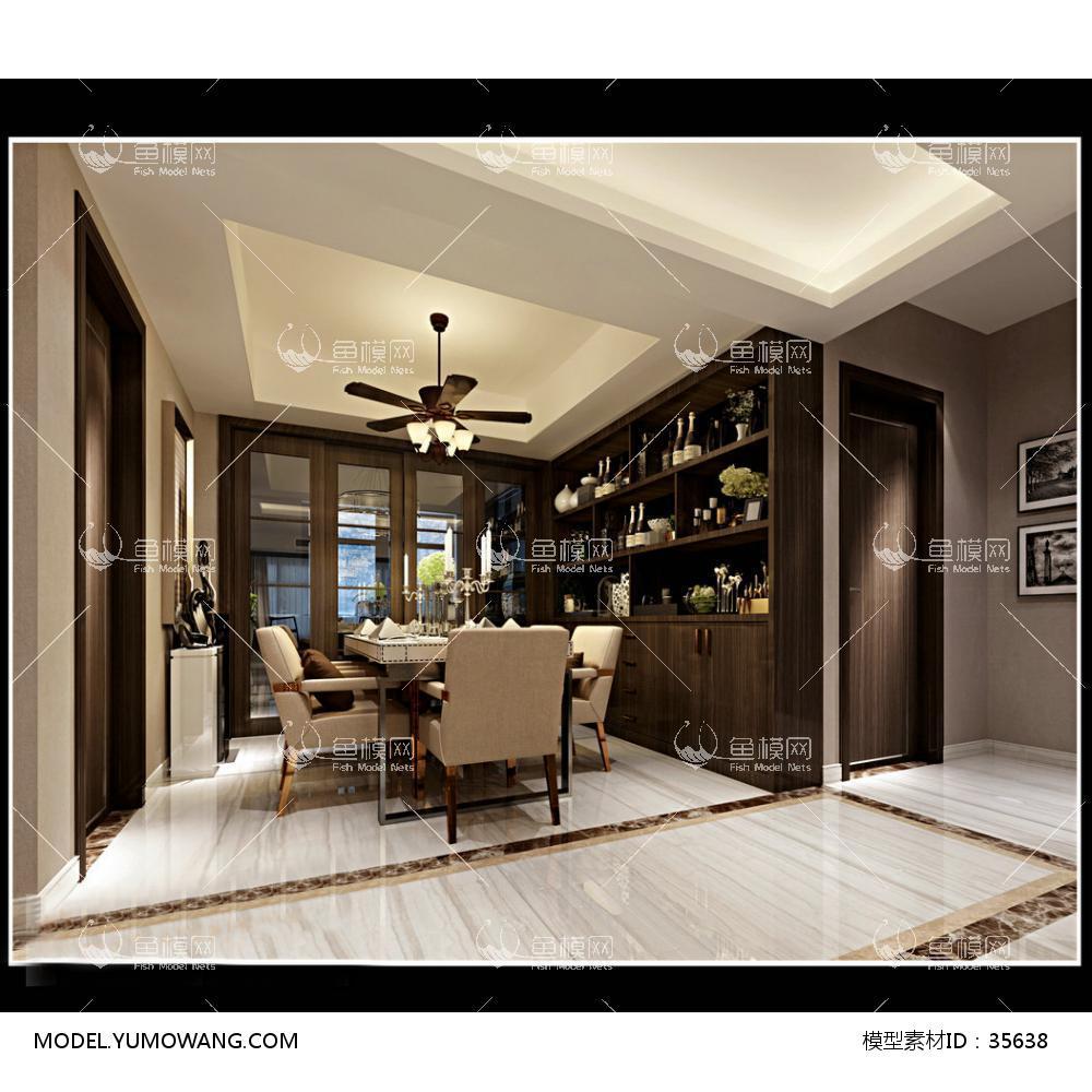现代风格餐厅 (53)3D模型下载-[ID]35638