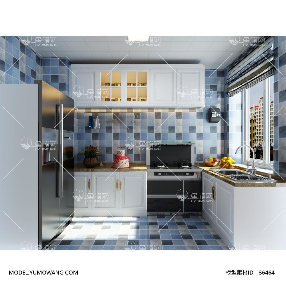 现代厨房3D模型下载-[ID]36464