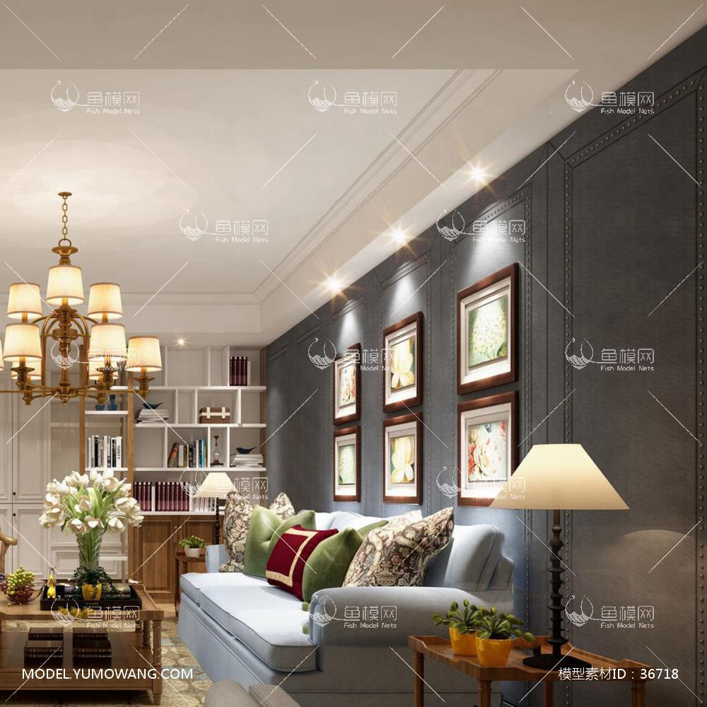 美式风格客厅 (1)3d模型