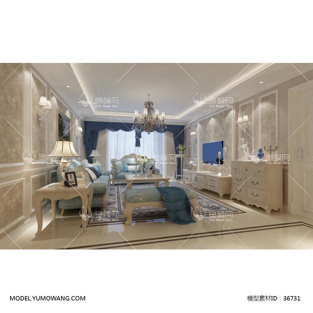 欧式风格客厅空间 (1)3D模型下载-[ID]36731