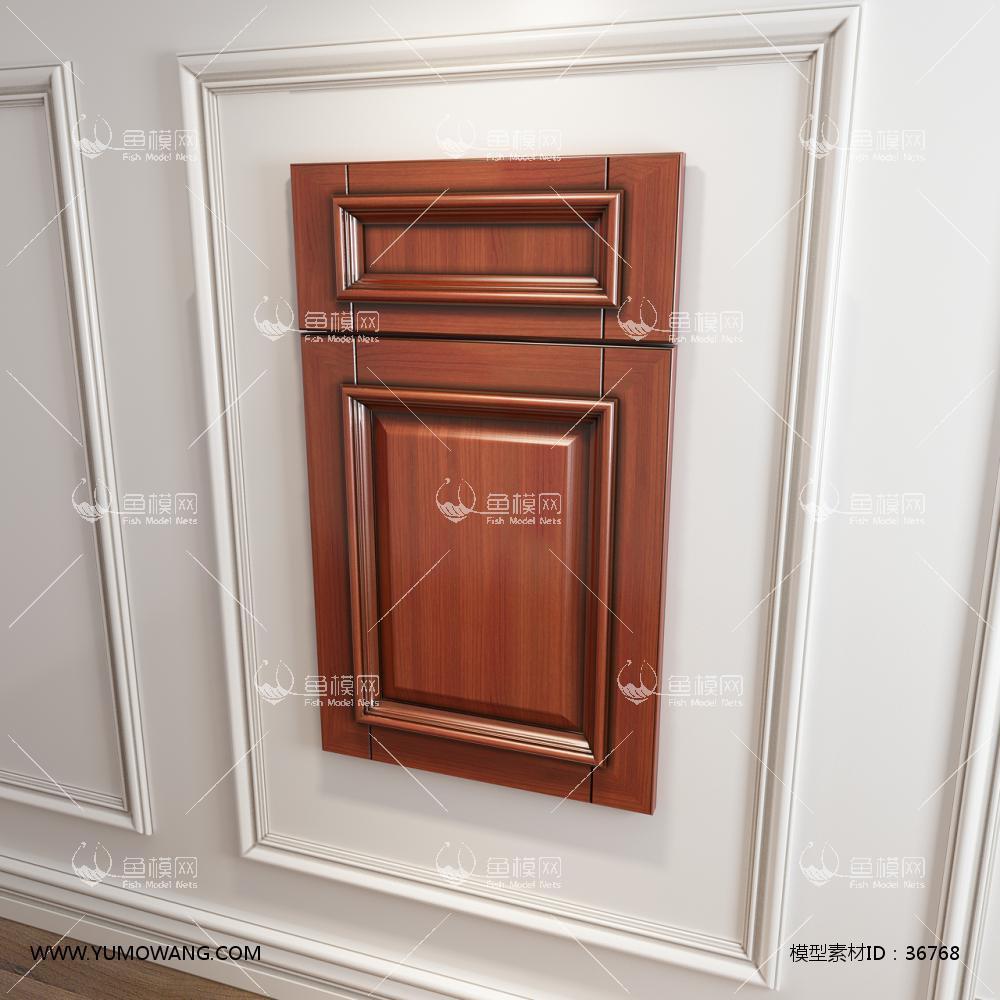 实木橱柜衣柜门板门型3D模型下载-[ID]36768