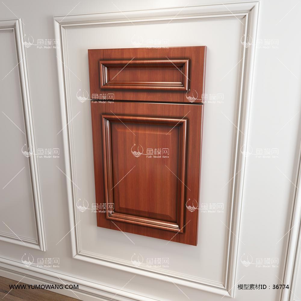 实木橱柜衣柜门板门型3D模型下载-[ID]36774