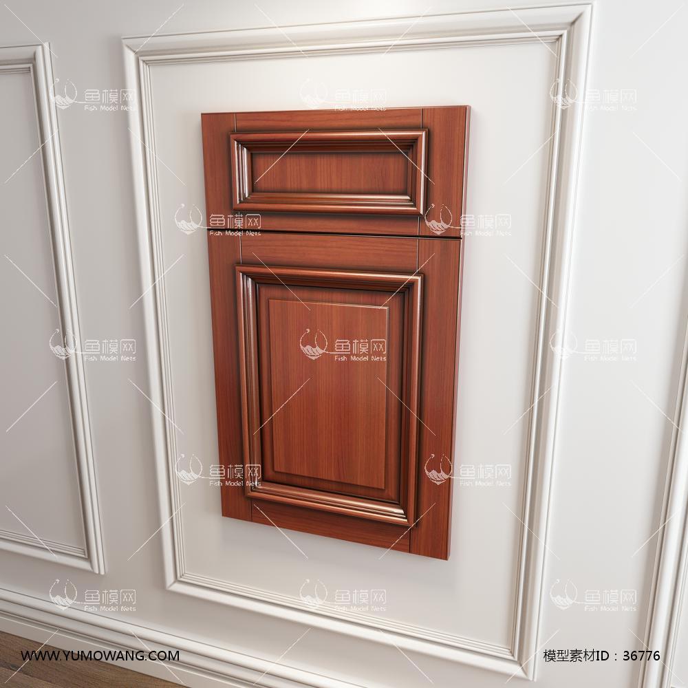实木橱柜衣柜门板门型3D模型下载-[ID]36776