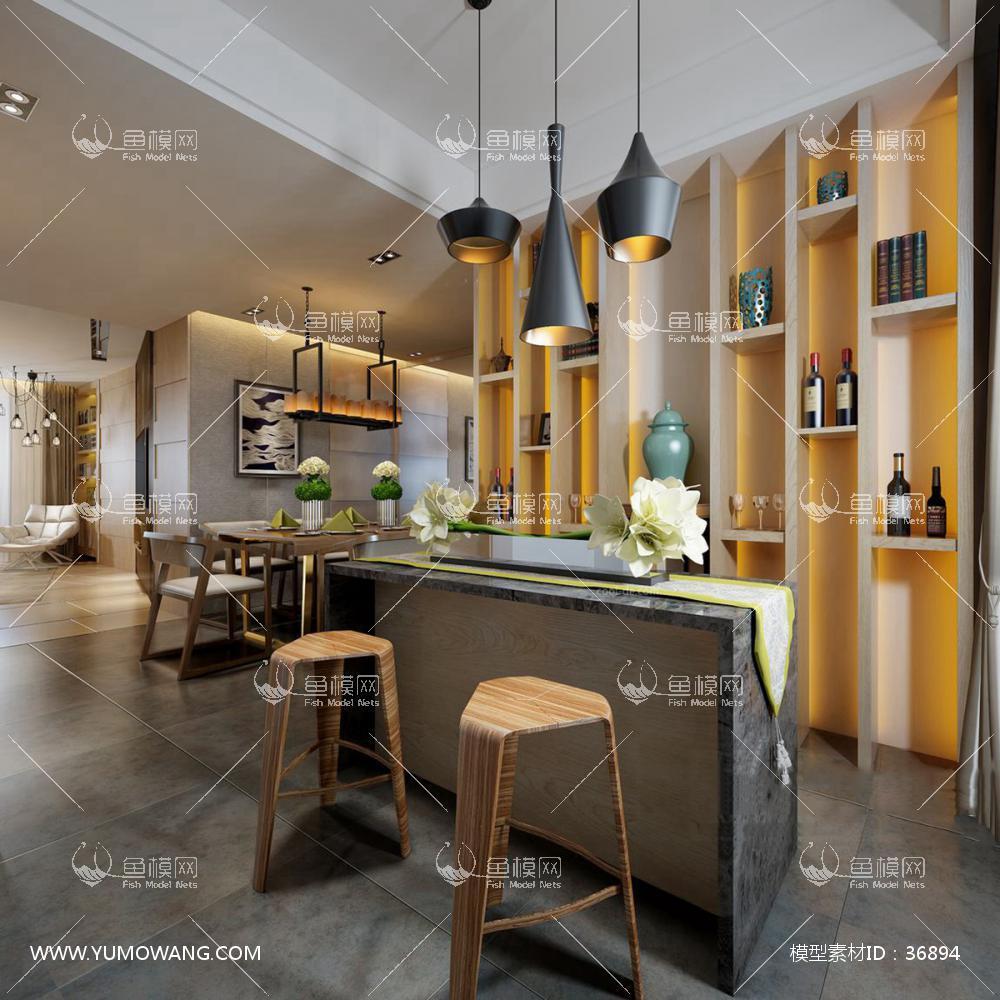 餐厅空间 (73)3d模型