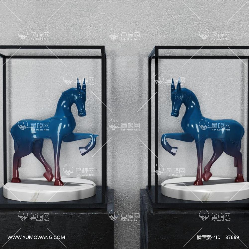 新中式骏马摆件组合3D模型下载-[ID]37689