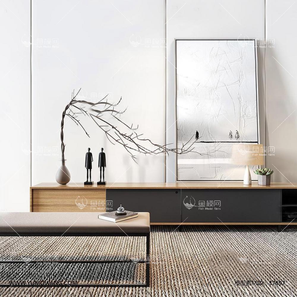 现代实木电视柜组合3D模型下载-[ID]37697