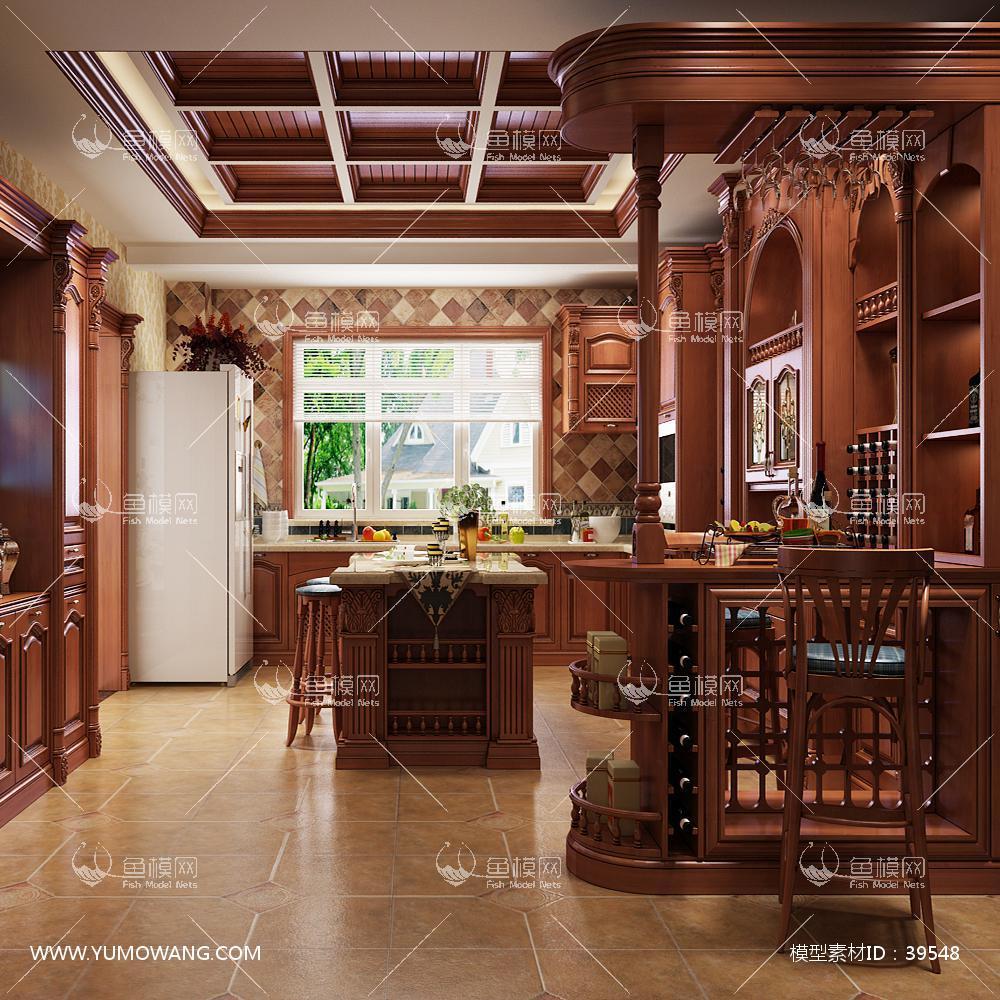 实木定制厨房橱柜带岛台3D模型下载-[ID]39548