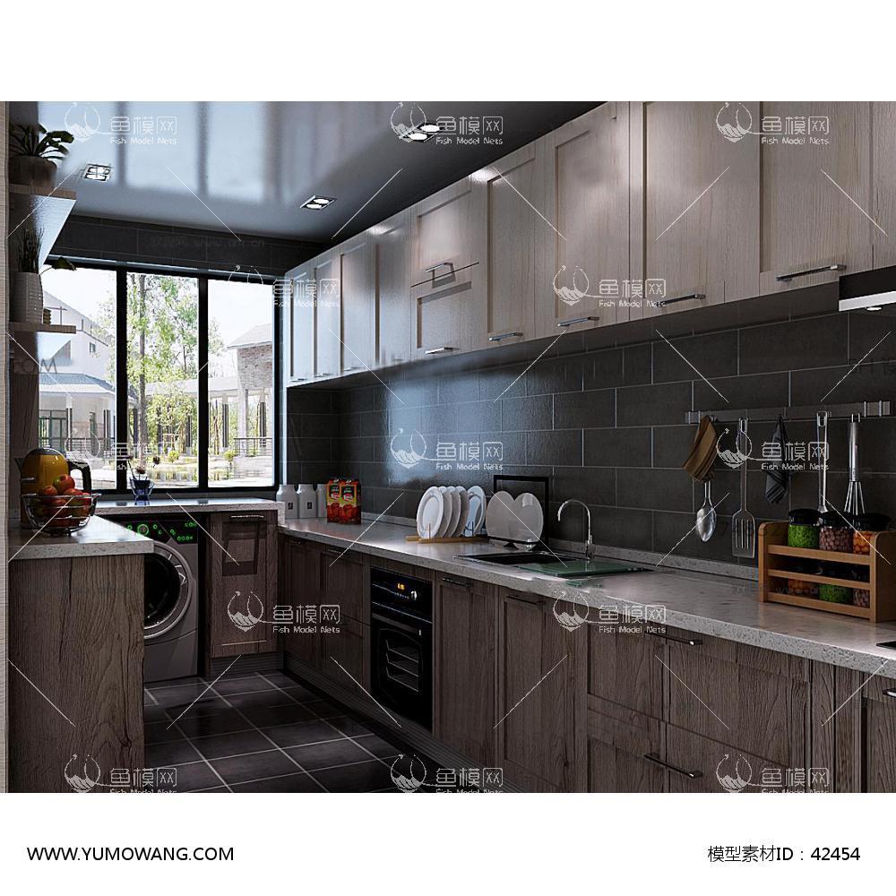 现代厨房橱柜餐具23D模型下载-[ID]42454