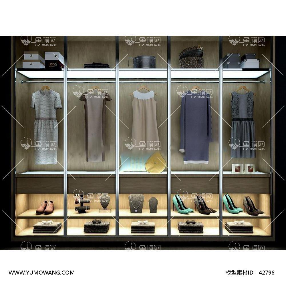 现代衣柜女装女鞋组合3D模型下载-[ID]42796