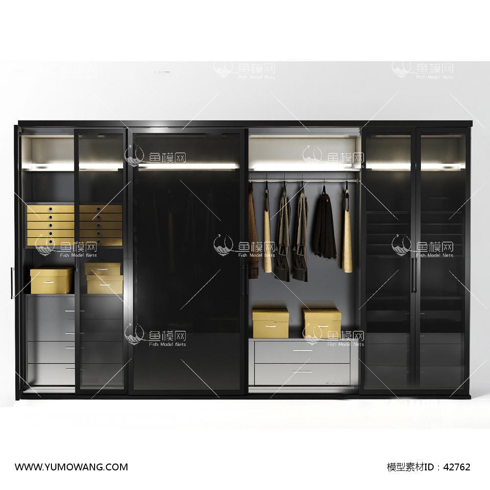 现代实木推拉门衣柜3d模型