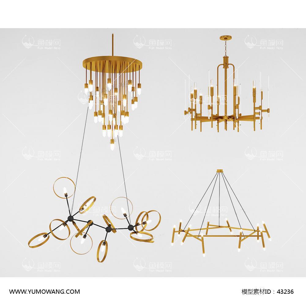 美式灯具类吊灯63d模型