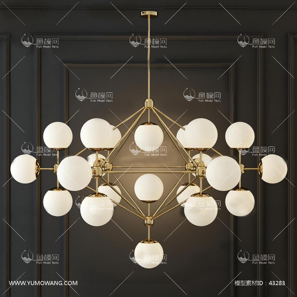 现代金属圆球吊灯3D模型下载-[ID]43283