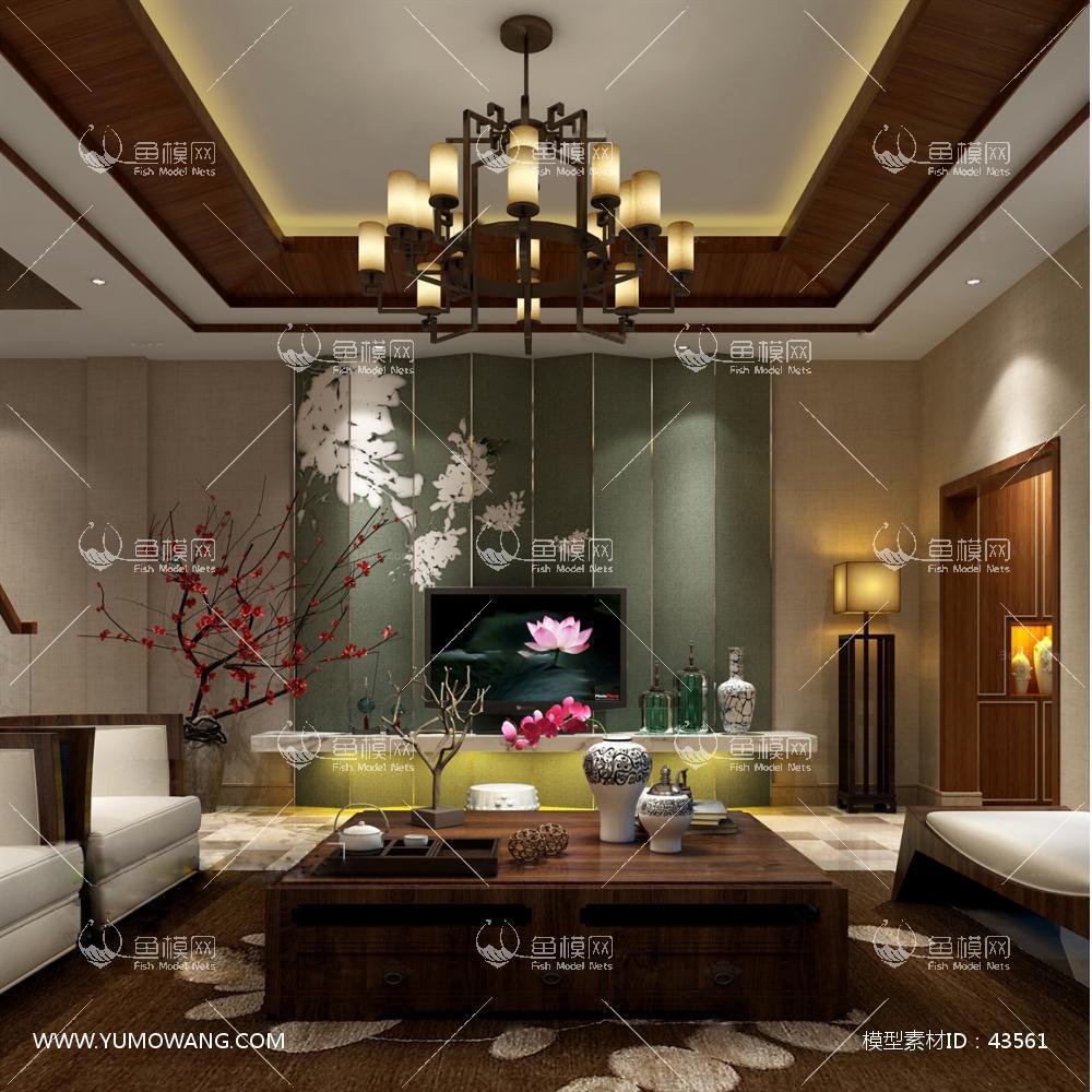 中式整体家装客厅空间273D模型下载-[ID]43561