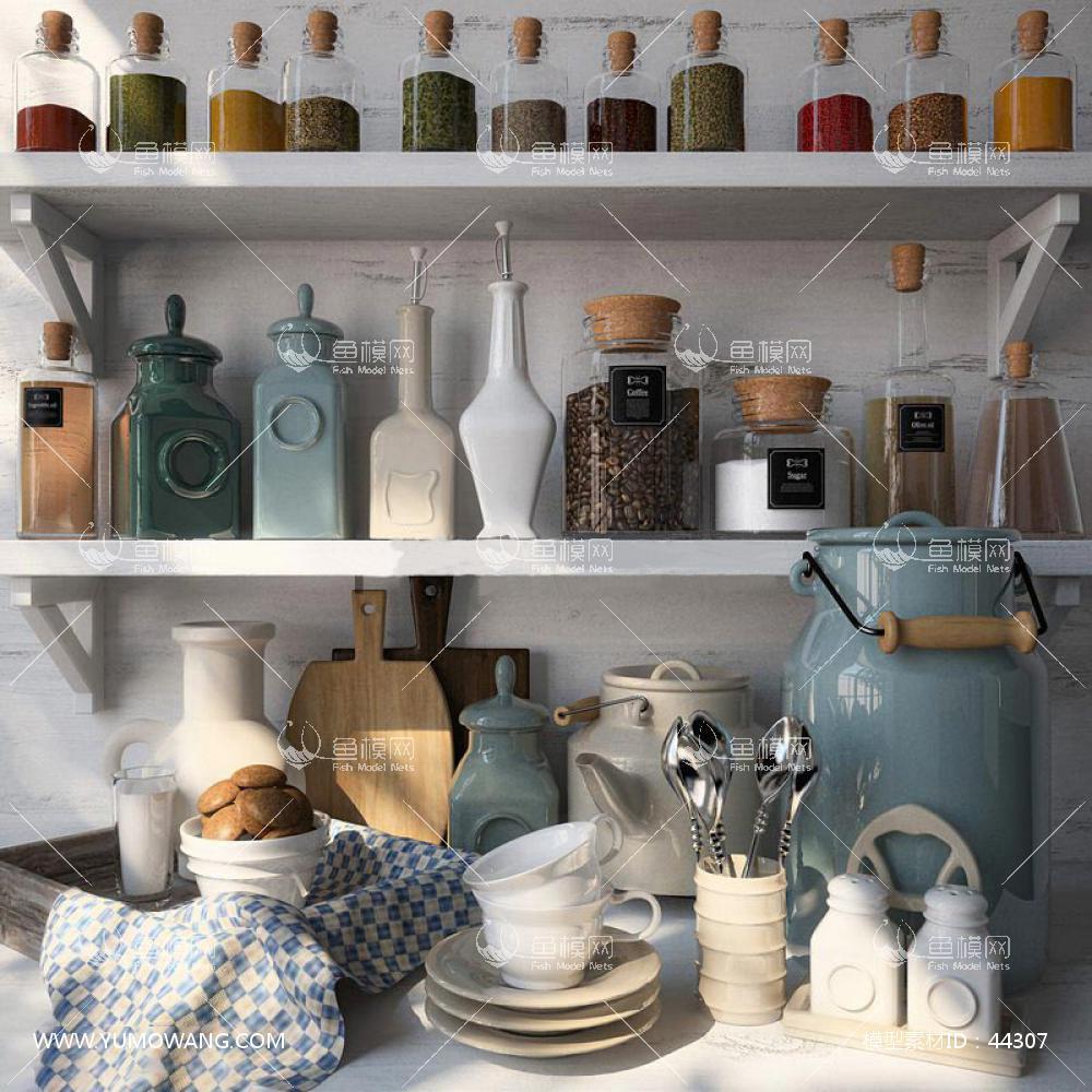 现代厨房餐具3D模型下载-[ID]44307