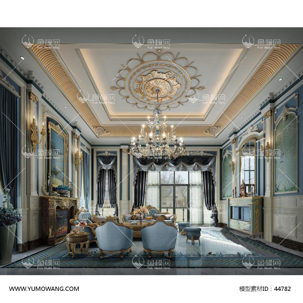 地中海豪华别墅客厅3d模型