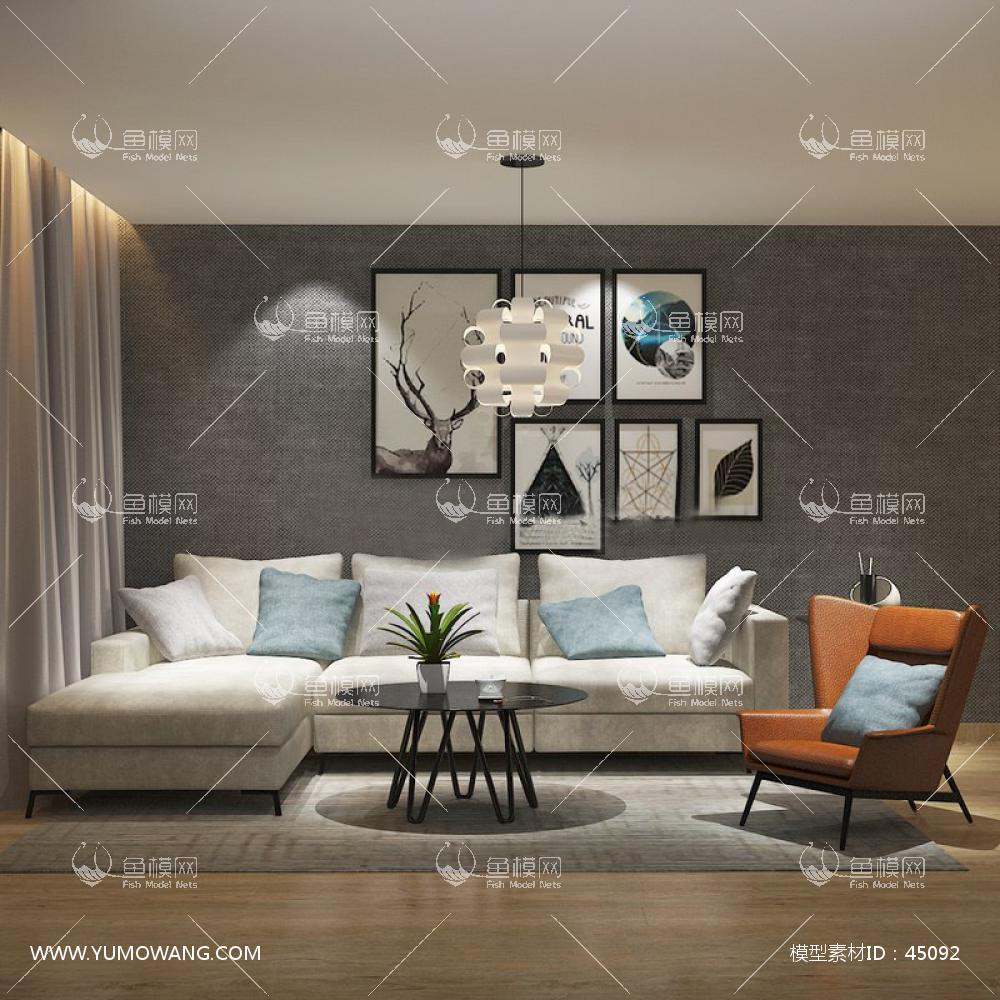 现代沙发茶几3D模型下载-[ID]45092