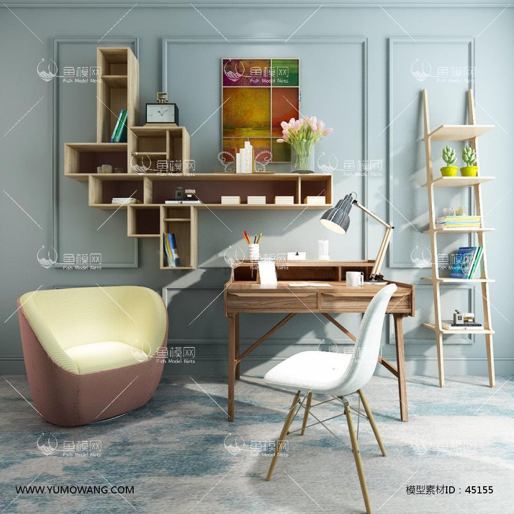 现代书桌书架3d模型