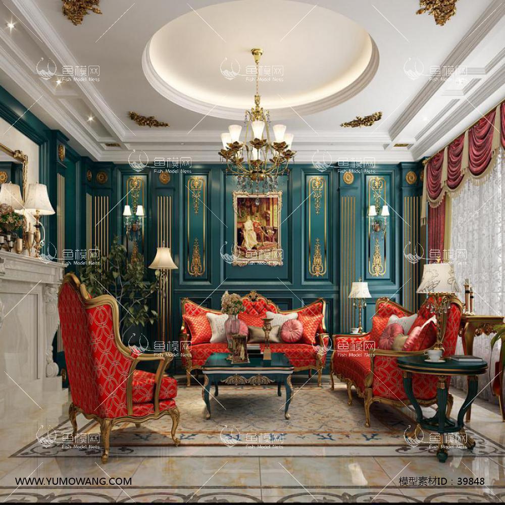 法式蓝色描金客厅3d模型