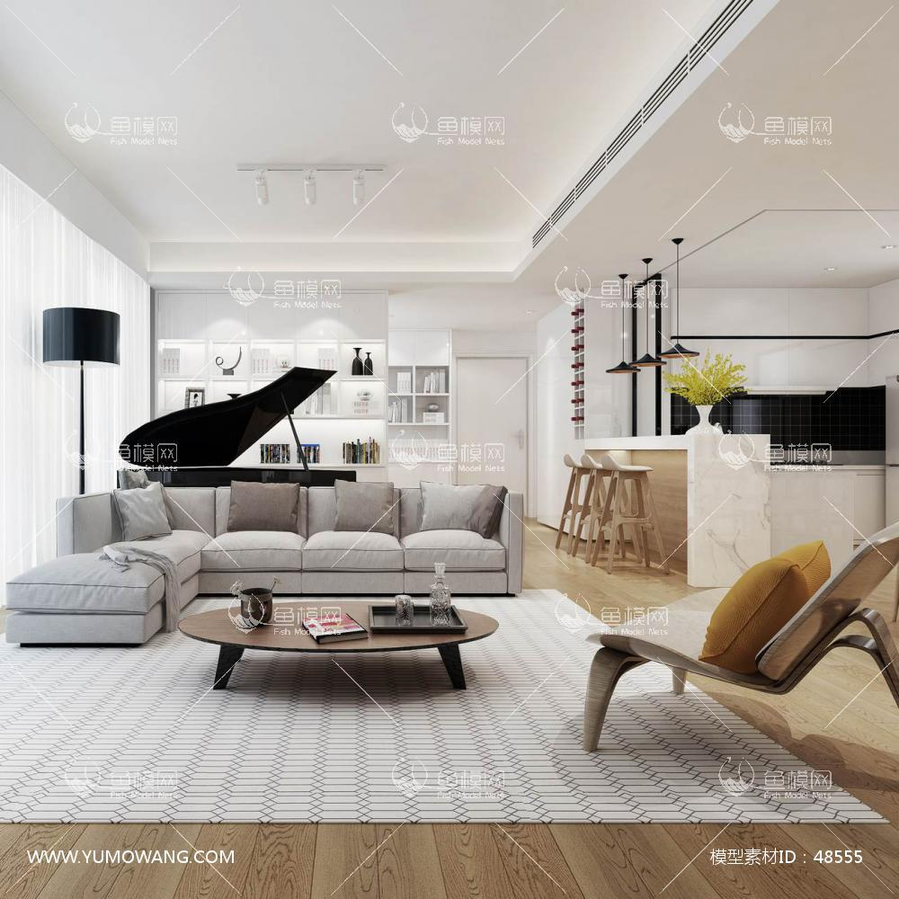 整装轻奢客厅空间3D模型下载-[ID]48555